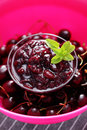 Cherry jam homemade goods in jar Royalty Free Stock Image
