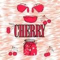 Cherry Jam. Jar with Cherry Jam. Pink jelly. Royalty Free Stock Photo
