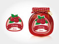 Cherry jam label with jar Royalty Free Stock Photo