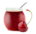 Cherry jam open jar of over white background Stock Images