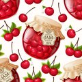 Cherry jam seamless pattern natural organic berries jar and leaves vector illustration Royalty Free Stock Image