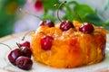Cherry jelly piece cake closeup Royalty Free Stock Photos