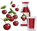 Cherry juice with bottle and glass Royalty Free Stock Photo