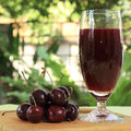 Cherry juice and cherries Royalty Free Stock Image