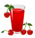 Cherry juice and cherries. Vector illustration. Stock Photography