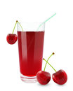 Cherry juice fresh on a white background Stock Image