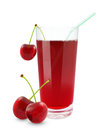 Cherry juice fresh on a white background Royalty Free Stock Images
