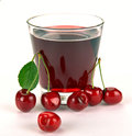 Cherry juice in a glass of berry Royalty Free Stock Images