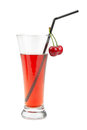 Cherry juice isolated on white background Stock Photos