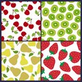 Cherry, kiwi, pear and strawberry seamless pattern. Berries and fruits. Fashion design. Food print for dress, skirt Royalty Free Stock Photo