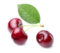 Cherry with leaf in closeup Royalty Free Stock Image