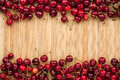 Cherry lying on bamboo mat place for text Royalty Free Stock Photography