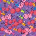 Cherry music note seamless pattern