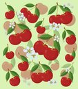 Cherry pattern with leaves and flowers, on a light background