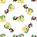 Cherry pear hand drawn pattern