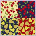 Cherry and pear seamless pattern. Berries, fruits. Fashion design. Food print for dress, skirt Royalty Free Stock Photo