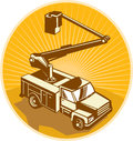 Cherry picker bucket truck access equipment retro illustration of a crane pick up viewed from high angle done in style Stock Photo