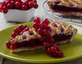Cherry pie on green plate Royalty Free Stock Photo