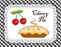 Cherry pie lace doily place mat black gingham traditional fresh baked on white eyelet with and white check background Stock Photography
