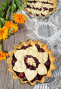 Cherry pie on the wooden table background Stock Photography