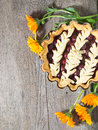 Cherry pie on the wooden table background Stock Photo