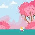 Cherry Sakura Blossom. Rubber ball. Spring Nature. Vector Royalty Free Stock Photo