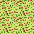 Cherry seamless pattern Stock Photography