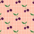 Cherry seamless pattern for fabric design. Cherries wallpaper on stripes background Royalty Free Stock Photo
