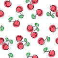 Cherry seamless pattern. Good for textile, wrapping, wallpapers, etc. Sweet red ripe cherries isolated on white background. Vector Royalty Free Stock Photo