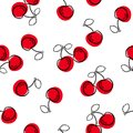 Cherry seamless pattern. Good for textile, wrapping, wallpapers, etc. Sweet red ripe cherries isolated on white background. Royalty Free Stock Photo
