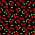 Cherry seamless pattern. Red berry. Fashion design. Food print for kitchen tablecloth, curtain or dishcloth. Hand drawn doodle Royalty Free Stock Photo