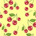 Cherry seamless pattern. Vector texture for textile, wrapping, wallpapers and other surfaces