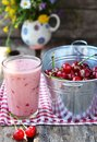 Cherry smoothy with fresh Royalty Free Stock Photo