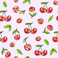 Cherry sweet on a pink background. Seamless pattern for design. Animation illustrations. Handwork Royalty Free Stock Photo