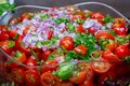 Cherry tomato salad. Healthy food Close up Royalty Free Stock Photo