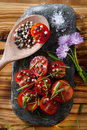 Cherry tomatoes on flat stone Royalty Free Stock Photography