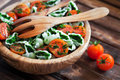Cherry tomatoes with gluten free pasta and spinach sauce selective focus Royalty Free Stock Photography
