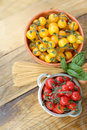 Cherry tomatoes and spaghetti red yellow Stock Image