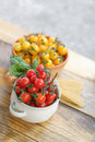 Cherry tomatoes and spaghetti on the table cooking dinner Royalty Free Stock Photo