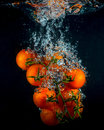 Cherry tomatoes in water splash on black Royalty Free Stock Photo