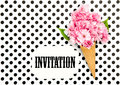 Cherry tree flowers ice cream waffle cone Paper Tag Royalty Free Stock Photo