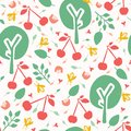 Cherry tree orchard seamless vector pattern background. Hand drawn tossed red cherries paper cut out. Matisse style. Fruit garden