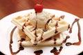 Cherry vanilla waffle Royalty Free Stock Photo