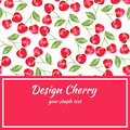 Cherry watercolor illustration, Vector berry border. Fruit design, Hand drawn frame on red background for banner, cards
