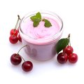 Cherry yogurt Royalty Free Stock Images