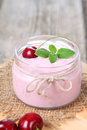 Cherry yogurt and cherry Royalty Free Stock Photo