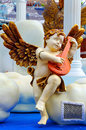Cherub angel christmas decoration little playing musical instrument Stock Photography