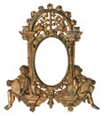 Cherub gold picture frame isolated on white Royalty Free Stock Images