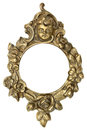 Cherub gold picture frame isolated on white Stock Photography