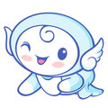 The cherub mascot is crawling around the room angel character d design series Stock Images